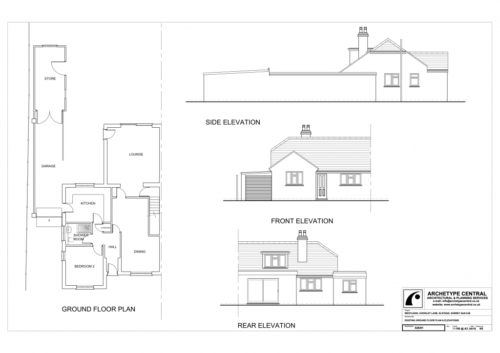 Westleigh - Existing Ground Floor Plan and Elevations