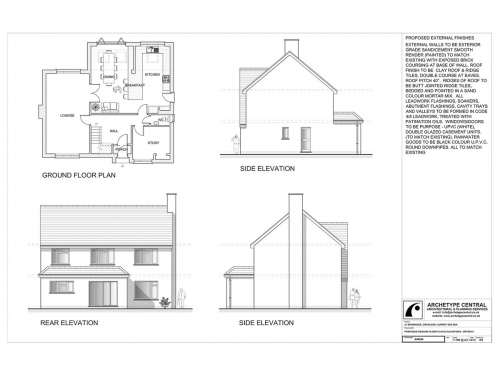 Brookside - Proposed Ground Floor Plan and Elevations