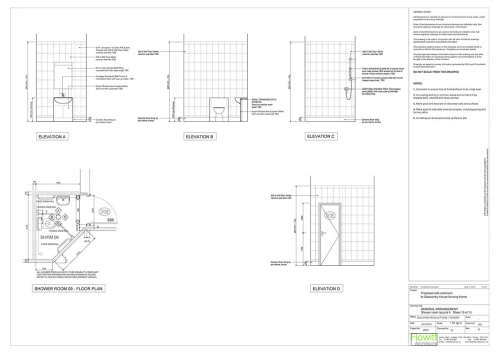 Galsworthy House - Proposed Shower Room 9 Floor Plan and Elevations