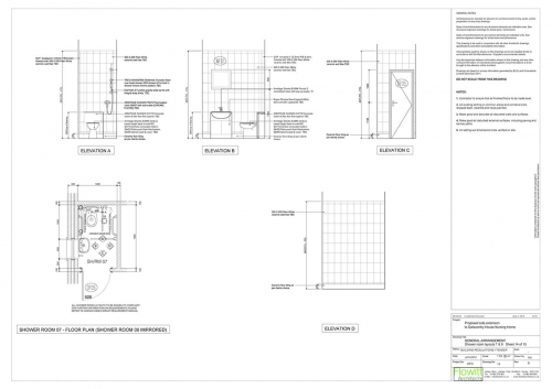 Galsworthy House - Proposed Shower Room 7 Floor Plan and Elevations