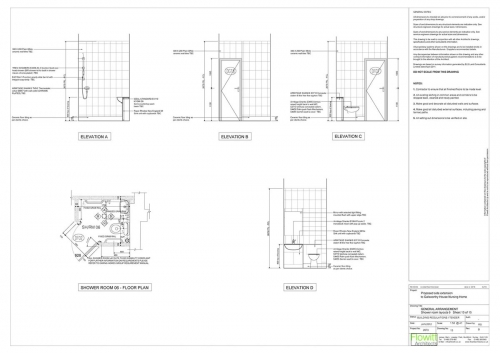 Galsworthy House - Proposed Shower Room 6 Floor Plan and Elevations