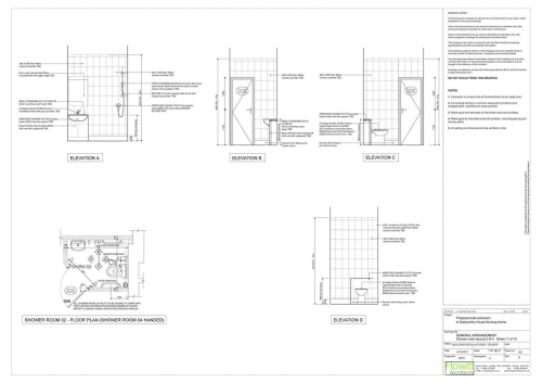 Galsworthy House - Proposed Shower Room 2 Floor Plan and Elevations