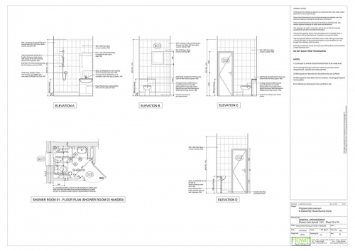 Galsworthy House - Proposed Shower Room 1 Floor Plan and Elevations