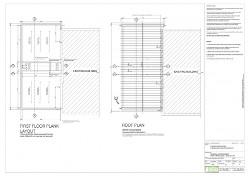 Galsworthy House - Proposed First Floor Plank Layout and Roof Plan