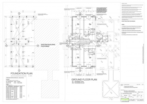 Galsworthy House - Proposed Foundation and Ground Floor Plans